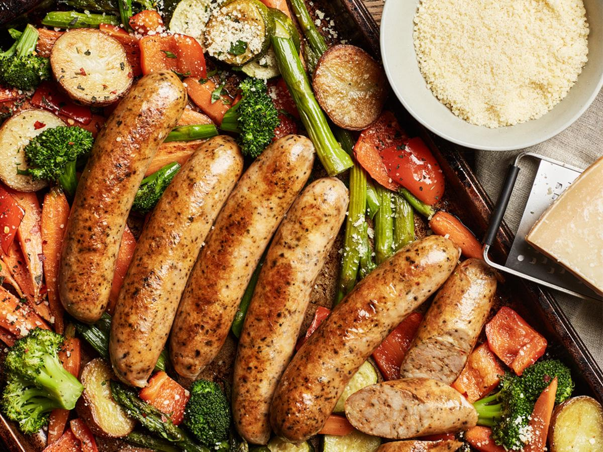 One Pan Robust Italian Chicken Sausage And Veggies Recipe Boar S Head