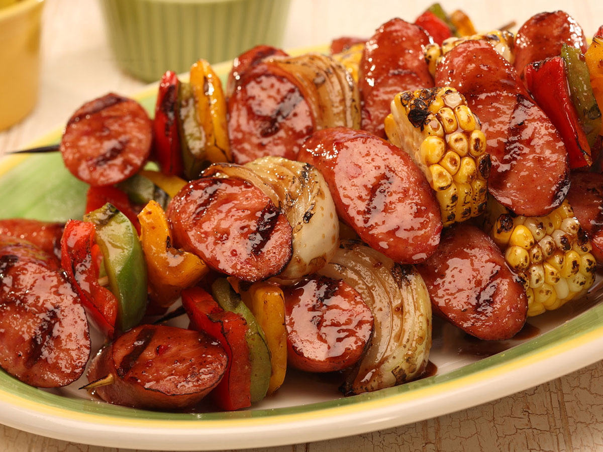 hot smoked sausage kabobs recipe